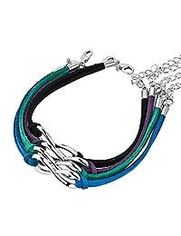 LoEnMe Jewelry 无穷大色皮革手镯链式手镯 2 件 4 件绳吊坠女士女孩时尚礼物