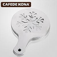 CAFEDE KONA 花式咖啡模具 铝制加厚奶泡咖啡拉花模具 喷花模16款