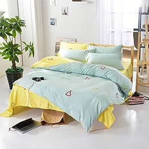 老有所依 床上用品 纯色磨毛双拼印花宜家风格四件套 甜言蜜语 被套150*200cm 床单200*230