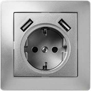 Famatel 9239 安装插座 16A-250V + 2x USB 2.1 mA 颜色 灰色 铝