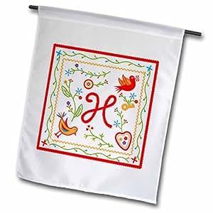 3dRose fl_160680_2 字母 H 交织字母和设计由葡萄牙花园旗制成,45.72 x 68.58cm