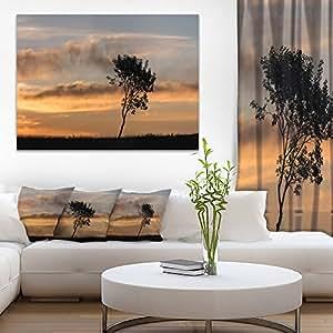 """设计艺术 孤独树剪影 右转景观 艺术印刷油画布 20x12"""" PT9995-20-12"""