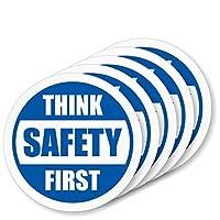 "SmartSign""Think Safety First""5 个装硬质帽子标签 | 复古反光,5.08 厘米圆圈"