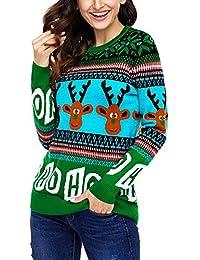 女式毛衣丑圣诞毛衣 女式可爱驯鹿套头衫雪花圣诞开衫针织套头衫