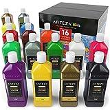 ARTEZA Tempera 油漆,16 种颜色(13.5 美国液体盎司/400 毫升瓶)包括荧光、黑暗发光、闪粉、金属和霓虹,爱好绘画家和儿童用画笔