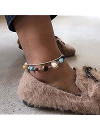 Asooll 波西米亚分层彩色串珠脚链 简约银色脚链 时尚沙滩*首饰套装 适合女士和女孩