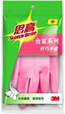 3M Scotch-Brite 思高合宜系列纤巧手套 中号(6包装,每包1副,天然橡胶制成,柔韧耐用)(亚马逊自营商品, 由供应商配送)