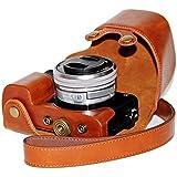 J.M.SHOW A6300相机皮套索尼 ILCE-6000L/W 微单保护套 索尼sony a6000 Nex 6相机包 镜头16-50mm相机内胆包摄影相机配件 内配相机肩带 棕色
