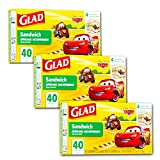 Glad Food Storage Bags, Sandwich Size Zipper Bags, Cars, 40 Count 120 Bags 40.00