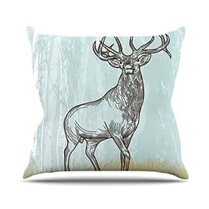 Kess InHouse Sam Posnick Elk Scene 室内/室外抱枕 18 x 18 英寸(长x宽) SP1001AOP03