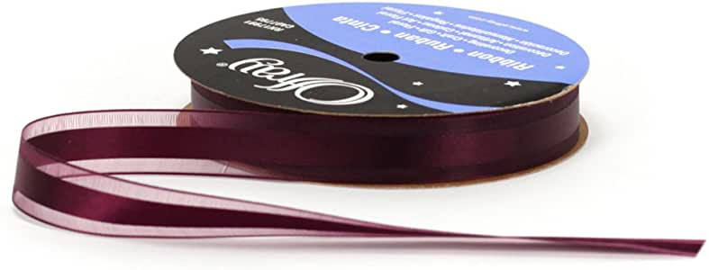 Offray Garbo Satin and Sheer Craft Ribbon, 5/8-Inch Wide by 20-Yard Spool, Eggplant