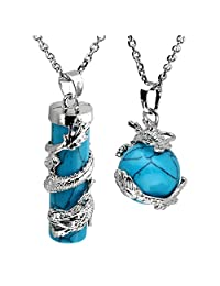 JOVIVI 2 件龙环圆圆圆柱宝石*水晶吊坠项链套装 合成绿松石