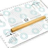 """硅胶糕点垫台面保护装置 – 和额外可重复使用的硅胶烘焙垫,带测量尺寸,耐热,食品级 白色,蓝色 Large (17"""" X 26"""") COMINHKG070936"""