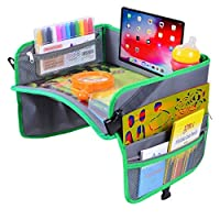 儿童旅行托盘 适用于汽车、飞机、婴儿车、笔记本电脑 - 带拉链口袋的汽车座椅活动桌,杯子/平板电脑支架和大型表面可用于零食、做家、玩耍、绘画