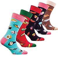 Socks n Socks-男士 5 雙裝奢華彩色棉質趣味新奇連衣裙襪子禮品盒