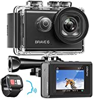 AKASO Brave 6 4K 20MP WiFi 運動相機語音控制 EIS 網絡攝像機 100 英尺水下防水相機???6 倍變焦水下攝像機帶 2 塊電池和頭盔配件套裝