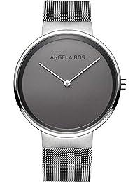 Angela Bos安格拉宝斯 手表石英表情侣手表 薄款简约时尚复古情侣对表 米兰尼斯钢带男女手表 (灰色男)