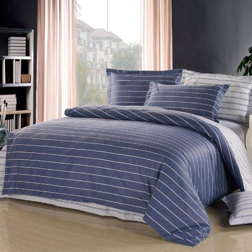 Maya O Lanzhiシンプルなストライプ4ピースコットンツイルプリントダブル4ピース高級コーム綿アクティブプリントと染色ABバージョンの綿の寝具肌に優しい通気性1.5 / 1.8メートルのベッドの余暇