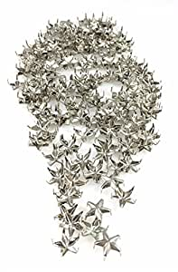 Charm Central 钉头/斑点/螺柱 - 四爪钉头 - 各种尺寸和颜色(12s,16s,20s,30ss - 圆形,扁平,螺旋,面面 - 金,镍) 40ss (8mm) Star - Nickel 100 pcs NHS12