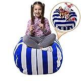 Injoy 24 英寸填充动物豆袋椅套 - * 纯棉帆布儿童玩具收纳袋舒适小屋 适合男孩女孩幼童,6 种图案可选 Blue/White Stripes