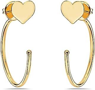 Pori Jewelers 14K 纯黄金半椭圆形环状心形耳钉 - 蝴蝶背衬