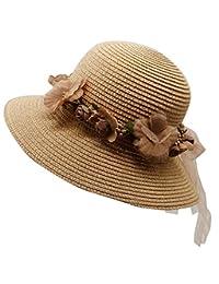 lovful 女式女式时尚蝴蝶结宽帽檐可折叠草帽软盘沙滩帽太阳帽