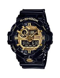 Casio 卡西欧男式多表盘石英手表带树脂表带 GA-710GB-1AER