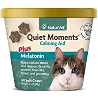 NaturVet 79903640 Quiet Moment Calmin & Melatonin Cat 60 Count Soft Chew Cup