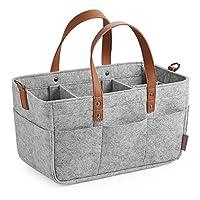 GAGAKU 婴儿尿布盒收纳袋 - 婴儿淋浴篮便携式婴儿收纳箱 汽车储物篮 适用于擦拭玩具手提包 - Grey