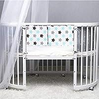 HePesTer 婴儿 2.5 厘米厚婴儿床缓冲垫,165英寸长,3件装,1005棉质婴儿便携式婴儿床缓冲垫,双面使用,可机洗 Blue Star