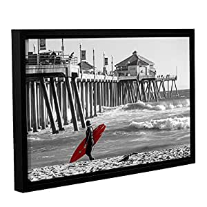 Scott Campbell's Existential Surfing At Huntington Beach, Gallery Wrapped Floater-Framed canvas 12x18
