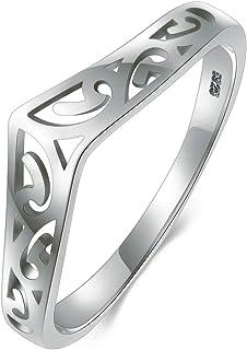 BORUO 925 纯银戒指金银丝 Thumb V 形图案高抛光舒适贴合戒指