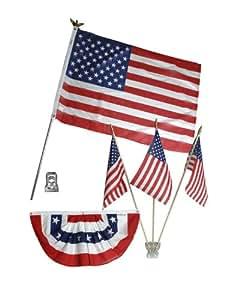 Valley Forge 旗帜 美国家居装饰套件 带 2.5 英尺 x 3 英尺 美国聚酯棉旗,3 条旗帜和旗帜 0 PDK-2-T