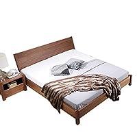 致林 北欧实木床黑胡桃木纹饰面床 双人床现代简约型卧室家具大床 1.5米床 150*200cm床 (亚马逊自营商品, 由供应商配送)
