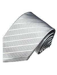 LORENZO CANA - 超长 * 真丝领带 银灰色条纹领带 8429499