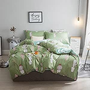 LuDan 3 件套儿童床上用品套装卡通一件被套 无被子 一个床单 两个枕套 单人床 普通双人床 大号双人床 适合孩子 快乐 猫头鹰 森林设计 绿色 全部