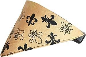 Gold Fleur De Lis Bandana 宠物项圈 黑色 Size 16