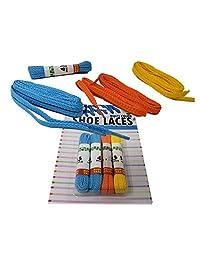儿童彩色霓虹鞋带(20 双)43 英寸鞋带,运动鞋 3 种颜色