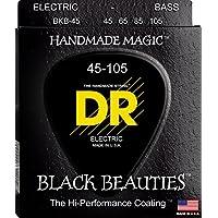 DR Strings 低音琴弦,黑色小心 - 超生,黑色涂层BKB-45 45-105