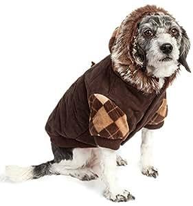 设计师图案麂皮菱形花纹毛衣 宠物夹克
