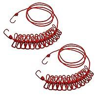NUZAMAS 2X Clothesline 12 个钉子夹,便携式可扩展可调节伸缩喷气机,适用于野营旅行衣物,室外洗涤干燥,室内皆可红色