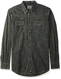WRANGLER 男式加大尺码摇滚47长袖前按扣衬衫