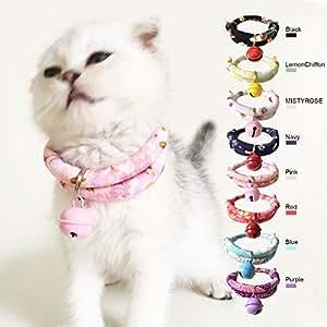 MuluStore 日本和服风格猫项圈适合猫咪或小狗带铃铛 粉红色 adjusted to 6-13 in