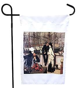 Rikki Knight James Tissot Art The Captain and His Girl House or Garden 旗帜,27.94 x 27.94 cm 图像,30.48 x 45.72 cm