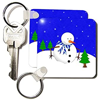 kc_31188 Janna Salak Designs Christmas - Cute Holiday Snowman and Baby Pine Tree Blue - Key Chains