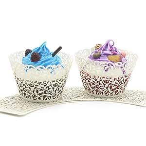UNIQLED 金银丝艺术蛋糕纸杯小葡萄*蕾丝激光切割纸杯蛋糕包装烘焙杯松饼架婚礼生日派对装饰品 奶油色 CW-TW-C100