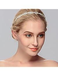 Ammei 花朵设计水钻水晶婚礼头带新娘头饰简单设计新娘头带