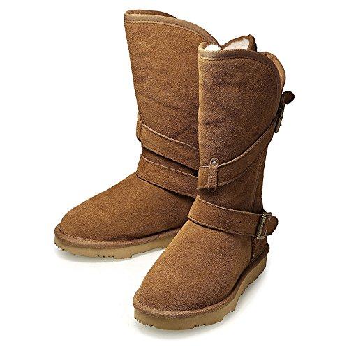 K.Signatureブランド钜惠BIGTIME(ビッグエイジ)冬の女性革純粋なウールベルトバックルチューブファッション暖かい雪のブーツ