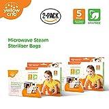 微波蒸汽*袋(5 个) 100 次使用 - * *易用的拉链蒸汽袋,适用于婴儿奶瓶、安抚器、牙胶和训练杯 2 件装 2 件装