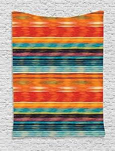 "Ambesonne 墨西哥装饰挂毯,仙人掌帽子辣椒图案在摇滚背景印花上,壁挂适用于卧室客厅宿舍,多色 Multi 8 40"" W By 60"" L tap_20618_40x60"